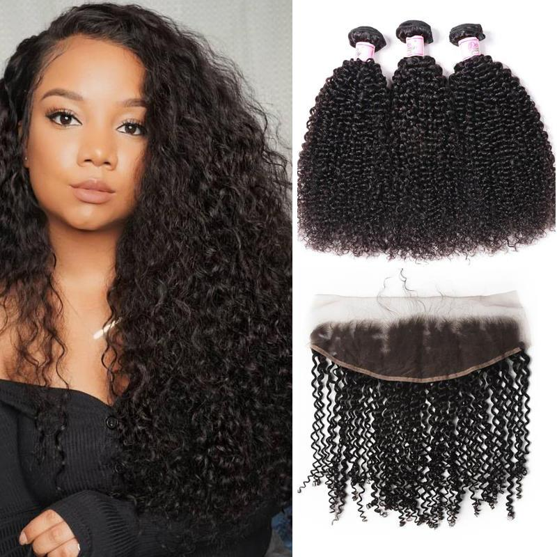 Brazilian Hair 3 Bundles with Lace Frontal Kinky Curly Hair