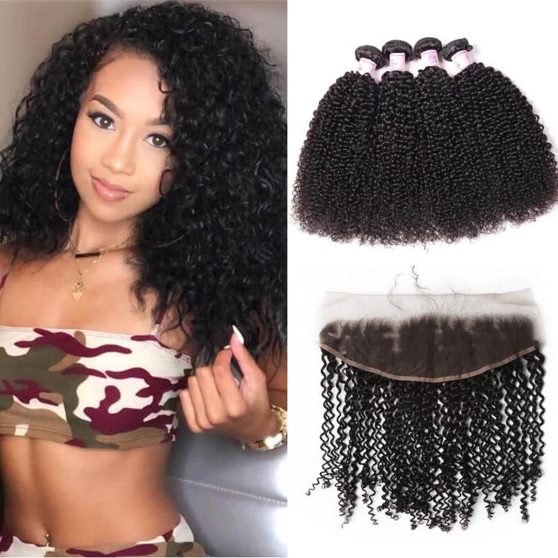 Brazilian Hair 4 Bundles with Lace Frontal Kinky Curly Hair