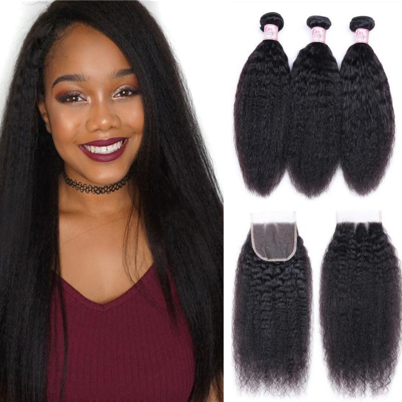Brazilian Hair 3 Bundles with Lace Closure Kinky Straight Hair
