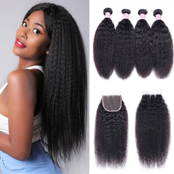 Brazilian Hair 4 Bundles with Lace Closure Kinky Straight Hair