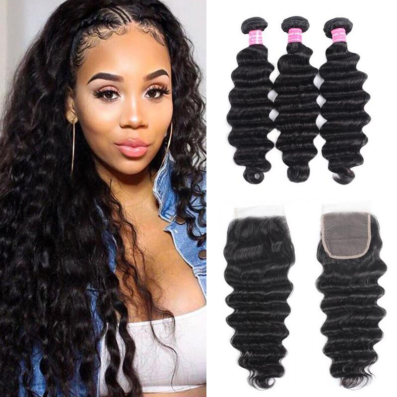 Brazilian Hair 3 Bundles with Lace Closure Loose Deep Hair