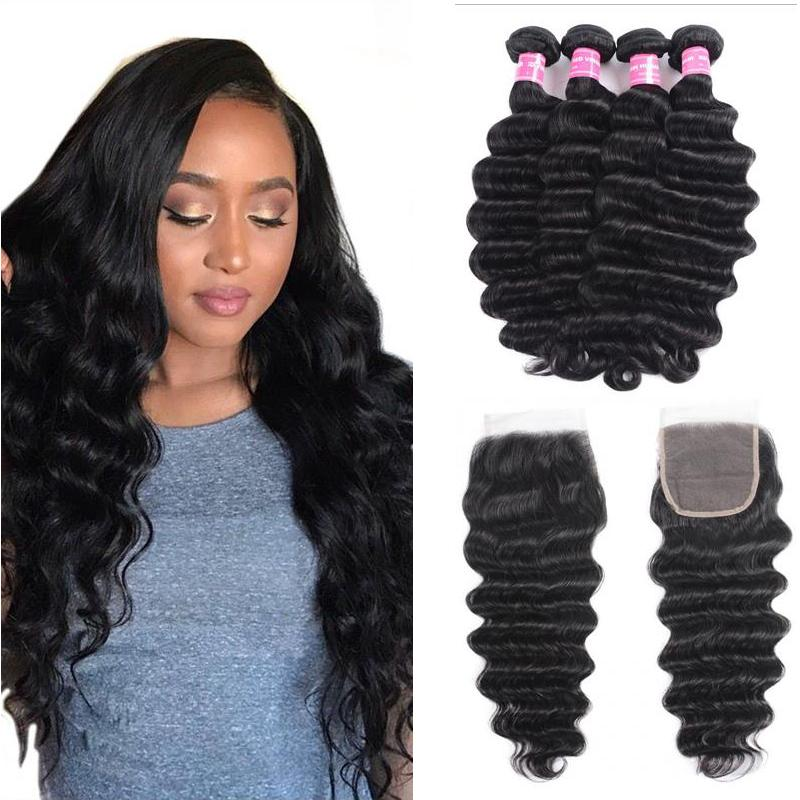 Brazilian Hair 4 Bundles with Lace Closure Loose Deep Hair