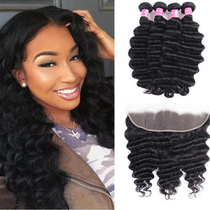 Brazilian Hair 4 Bundles with Lace Frontal Loose Deep Hair