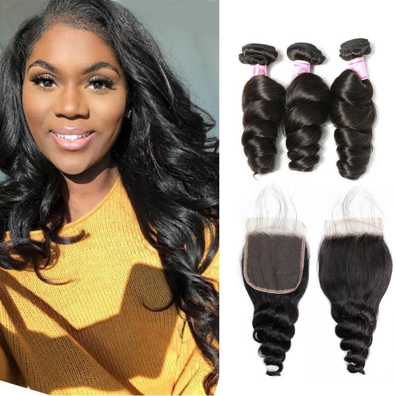 Brazilian Hair 3 Bundles with Lace Closure Loose Wave Hair