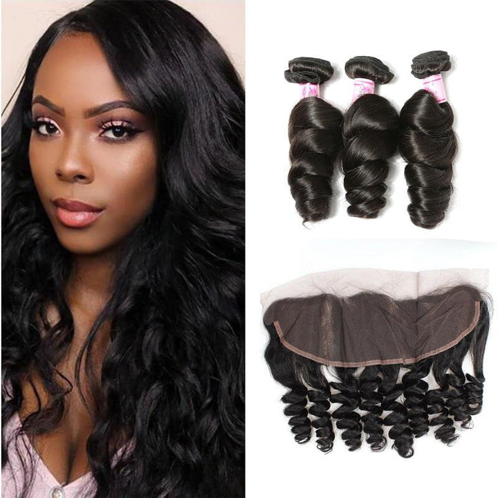 Brazilian Hair 3 Bundles with Lace Frontal Loose Wave Hair