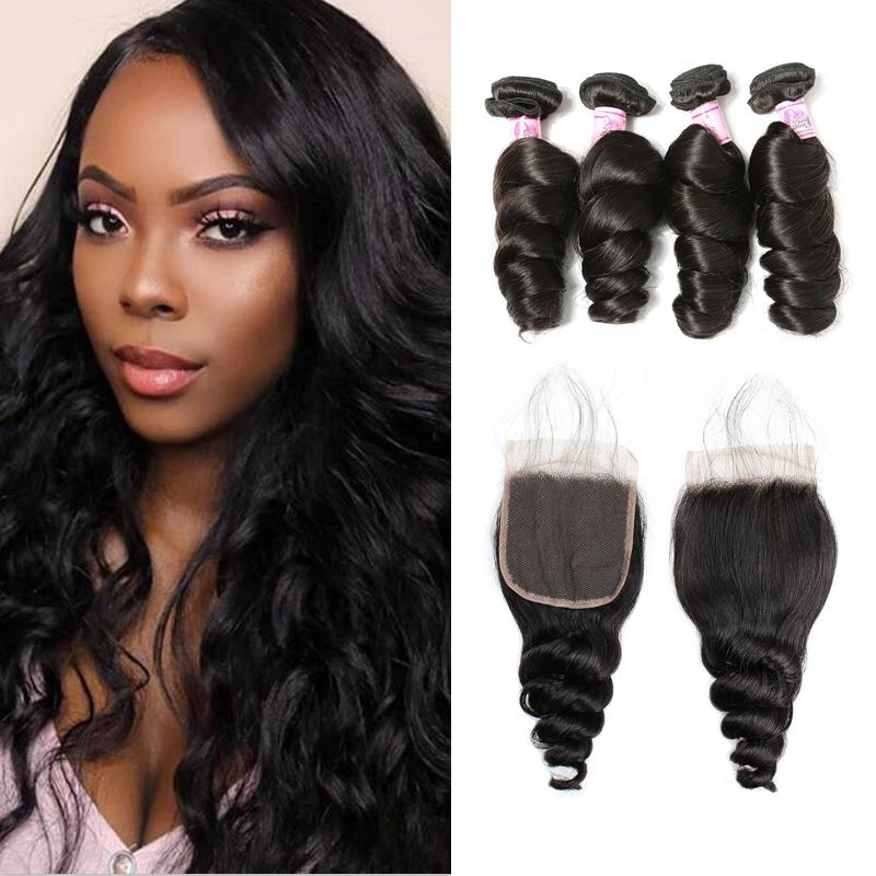 Brazilian Hair 4 Bundles with Lace Closure Loose Wave Hair
