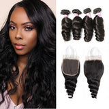 Brazilian Hair 4 Bundles with Lace Closure Loose Wave Hair 100% Human Hair