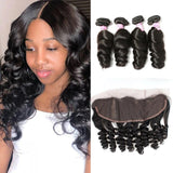 Brazilian Hair 4 Bundles with Lace Frontal Loose Wave Hair