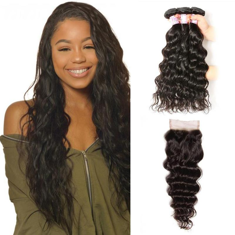 Brazilian Hair 3 Bundles with Lace Closure Natural Wave Hair