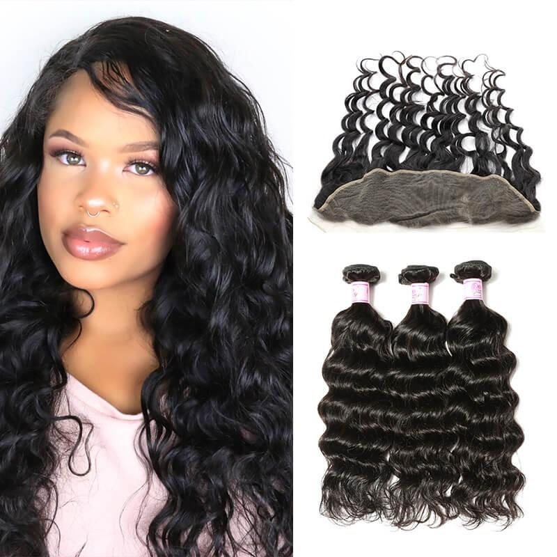 Brazilian Hair 3 Bundles with Lace Frontal Natural Wave Hair