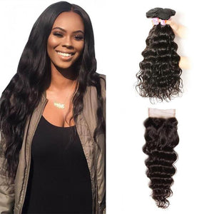 Brazilian Hair 4 Bundles with Lace Closure Natural Wave Hair