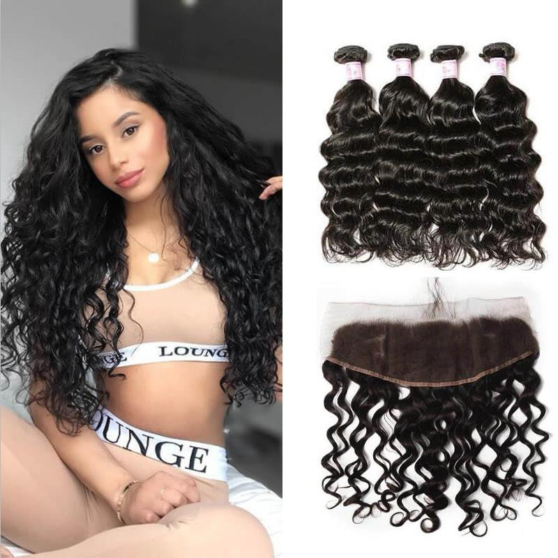 Brazilian Hair 4 Bundles with Lace Frontal Natural Wave Hair