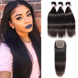 Brazilian Hair 3 Bundles with Lace Closure Straight Hair