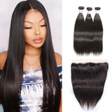 Brazilian Hair 3 Bundles with Lace Frontal Straight Hair