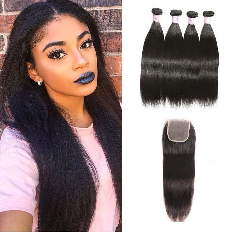 Brazilian Hair 4 Bundles with Lace Closure Straight Hair