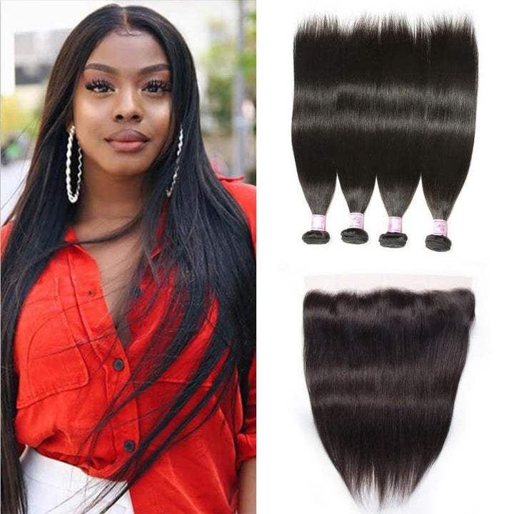 Brazilian Hair 4 Bundles with Lace Frontal Straight Hair