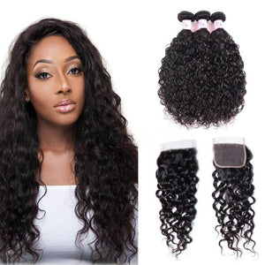 Brazilian Hair 3 Bundles with Lace Closure Water Wave Hair