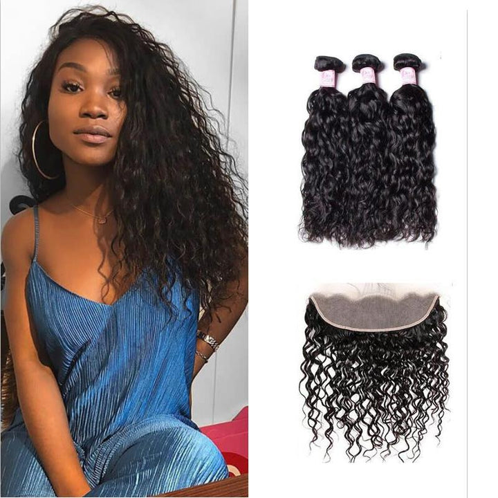 Brazilian Hair 3 Bundles with Lace Frontal Water Wave Hair