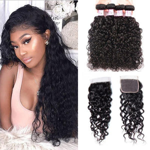 Brazilian Hair 4 Bundles with Lace Closure Water Wave Hair