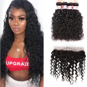 Brazilian Hair 4 Bundles with Lace Frontal Water Wave Hair