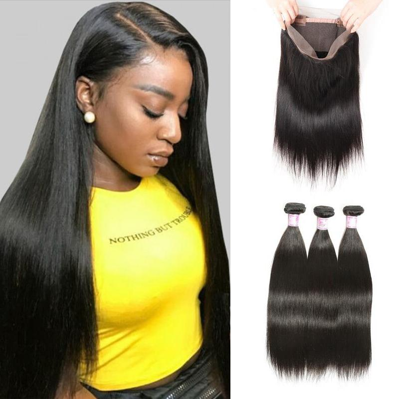 Virgin Hair 3 Bundles with 360 Lace Frontal Straight Hair