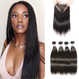 Virgin Hair 4 Bundles with 360 Lace Frontal Straight Human Hair