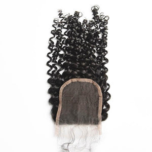 Virgin Hair Curly Lace Closure with Baby Hair (#1B Natural Black)