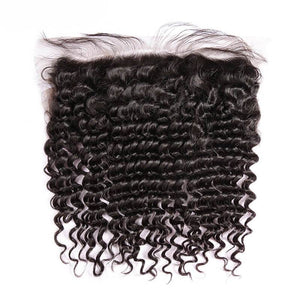 Virgin Hair Curly Lace Frontal with Baby Hair (#1B Natural Black)