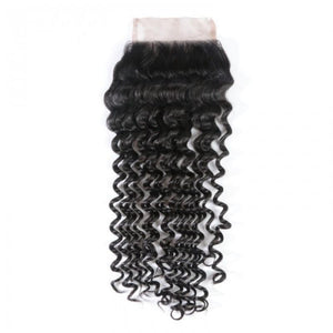 Virgin Hair Deep Wave Lace Closure with Baby Hair (#1B Natural Black)