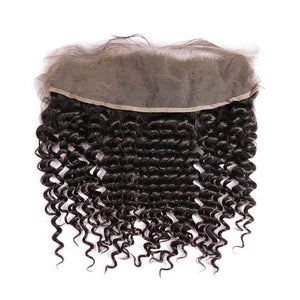 Virgin Hair Deep Wave Lace Frontal with Baby Hair (#1B Natural Black)