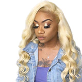 Human Hair Wigs Body Wave Full Lace Wigs with Baby Hair (#613 Bleach Blonde)