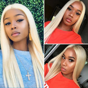 Human Hair Wigs Straight Full Lace Wigs (#613 Bleach Blonde)
