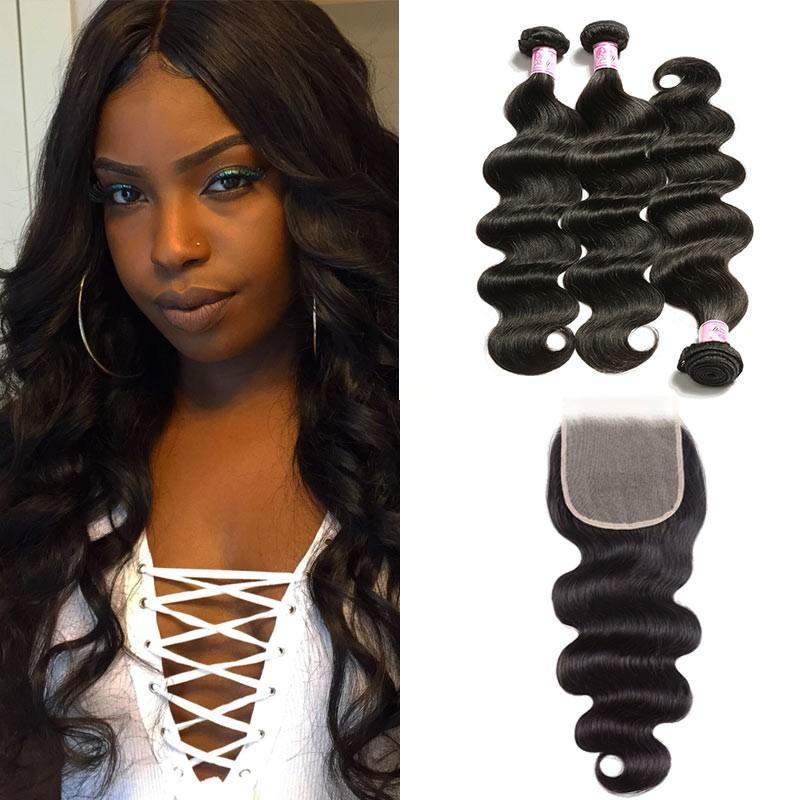 Indian Hair 3 Bundles with Lace Closure Body Wave Hair
