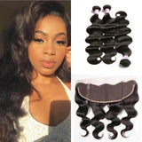 Indian Hair 3 Bundles with Lace Frontal Body Wave Hair