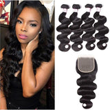 Indian Hair 4 Bundles with Lace Closure Body Wave Hair 100% Human Hair