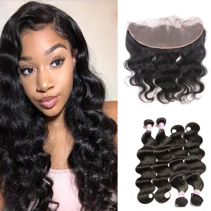 Indian Hair 4 Bundles with Lace Frontal Body Wave Hair