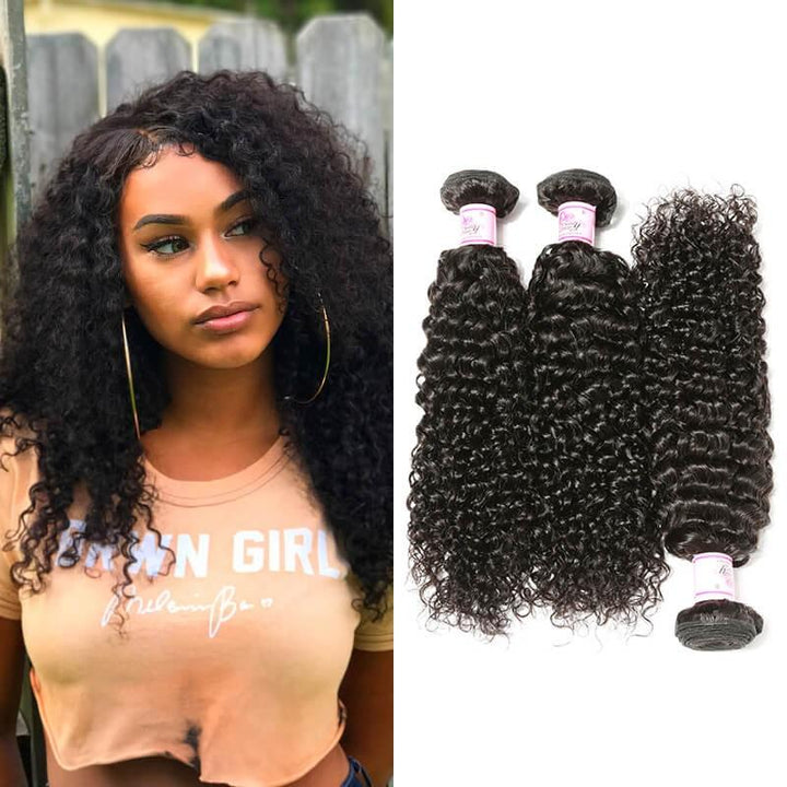 Indian Virgin Hair Weave 3 Bundles Curly Hair