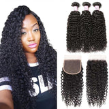 Indian Hair 3 Bundles with Lace Closure Curly Hair