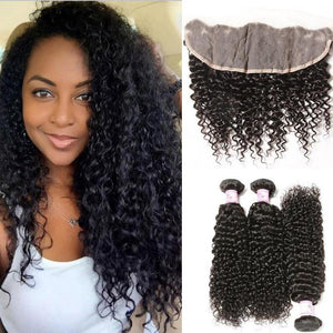Indian Hair 3 Bundles with Lace Frontal Curly Hair