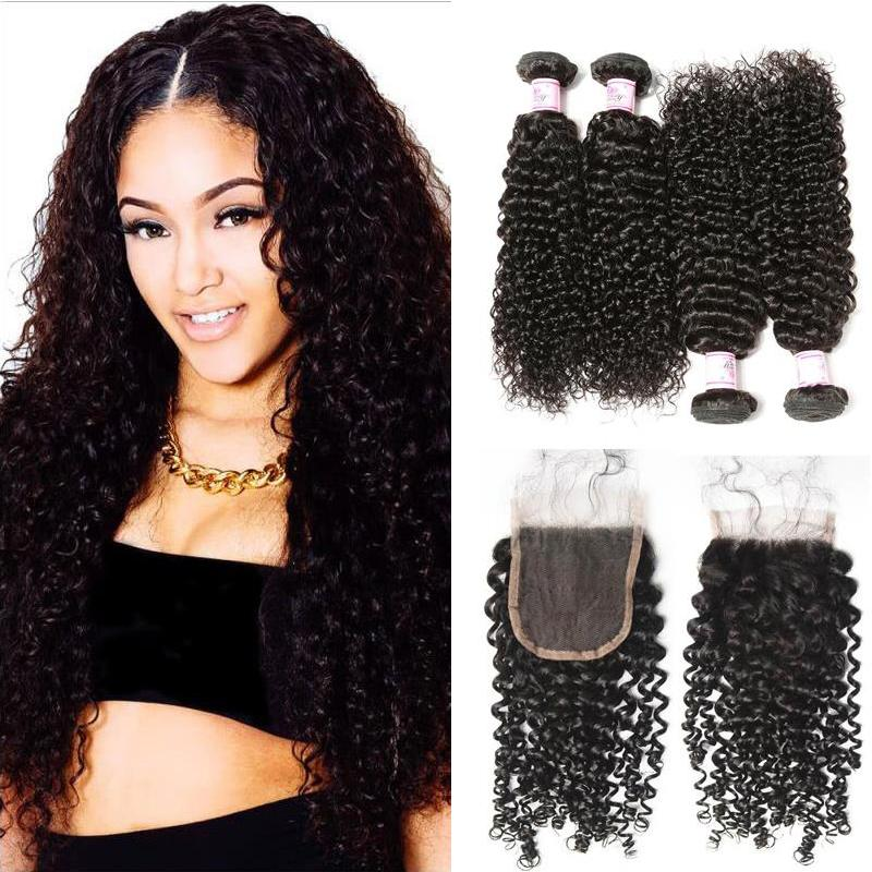 Indian Hair 4 Bundles with Lace Closure Curly Hair