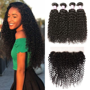 Indian Hair 4 Bundles with Lace Frontal Curly Hair