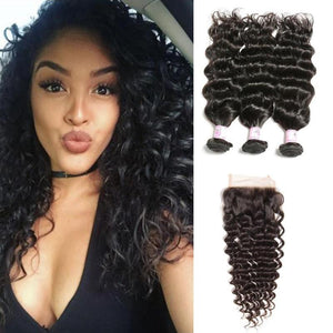 Indian Hair 3 Bundles with Lace Closure Deep Wave Hair