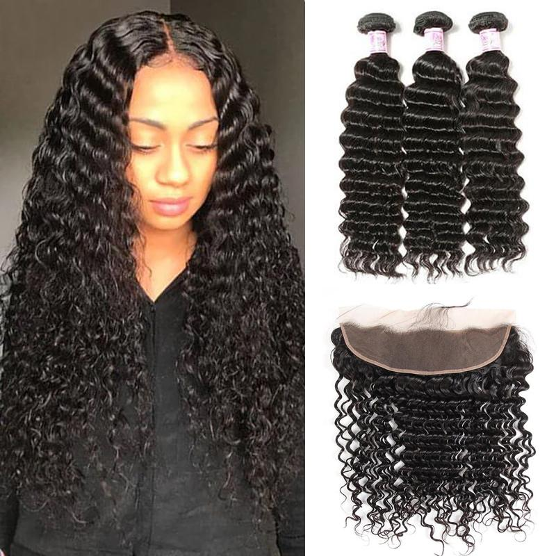 Indian Hair 3 Bundles with Lace Frontal Deep Wave Hair