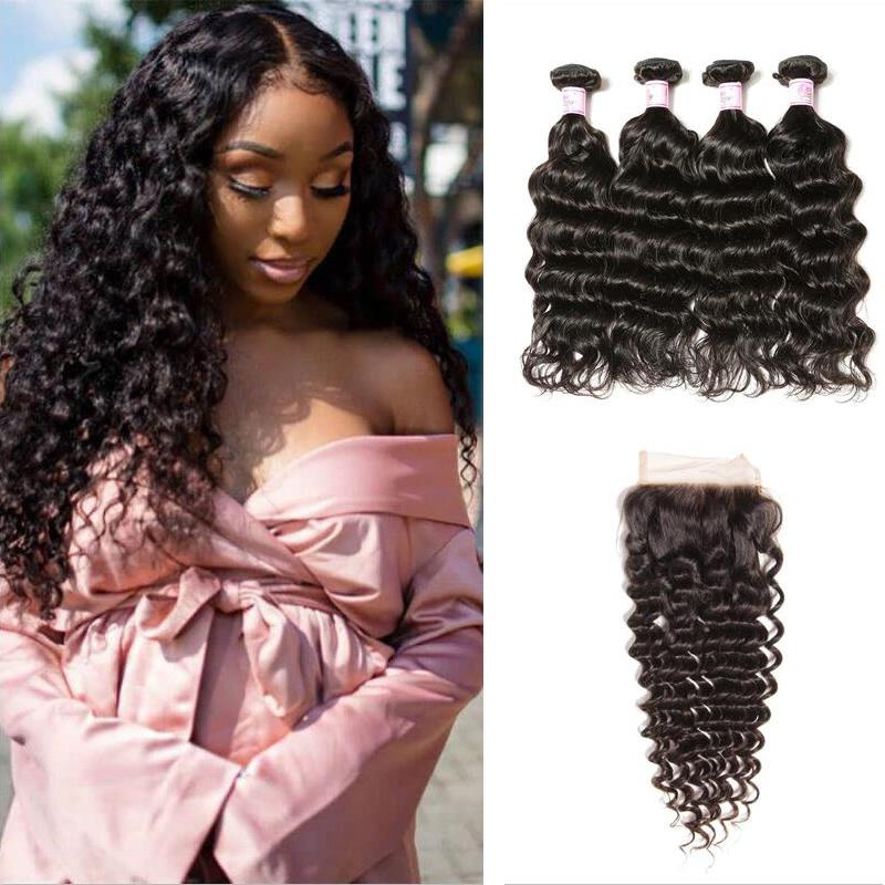 Indian Hair 4 Bundles with Lace Closure Deep Wave Hair