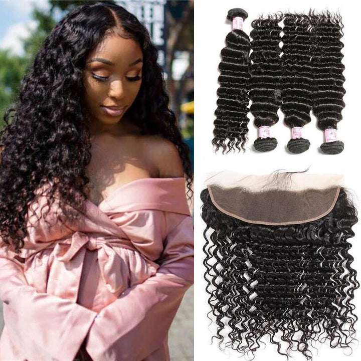 Indian Hair 4 Bundles with Lace Frontal Deep Wave Hair
