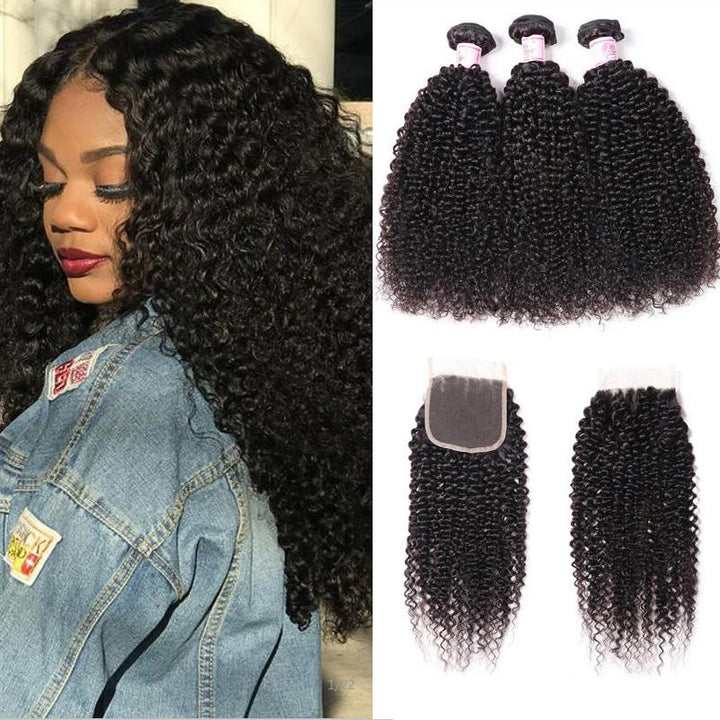 Indian Hair 3 Bundles with Lace Closure Kinky Curly Hair