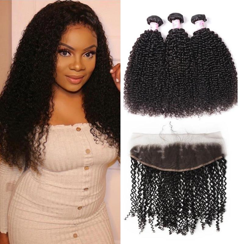 Indian Hair 3 Bundles with Lace Frontal Kinky Curly Hair
