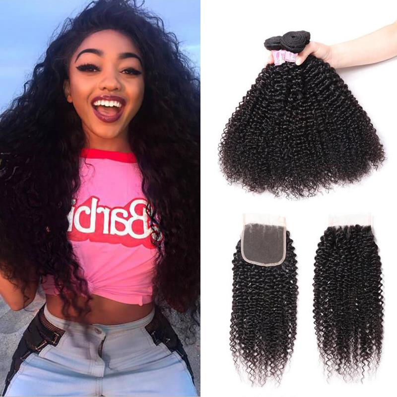 Indian Hair 4 Bundles with Lace Closure Kinky Curly Hair