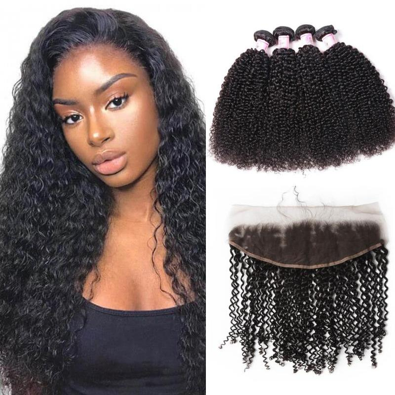 Indian Hair 4 Bundles with Lace Frontal Kinky Curly Hair