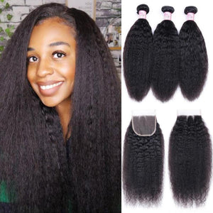 Indian Hair 3 Bundles with Lace Closure Kinky Straight Hair